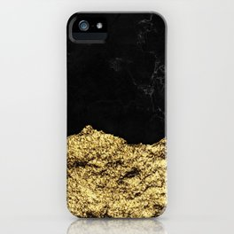 Rough Gold Torn and Black Marble iPhone Case