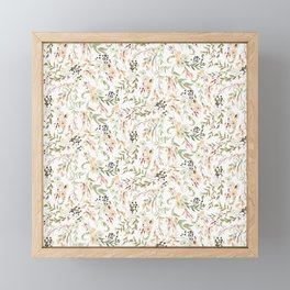 Dainty Intricate Pastel Floral Pattern Framed Mini Art Print