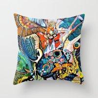 phoenix Throw Pillows featuring Phoenix by Dawn Patel Art