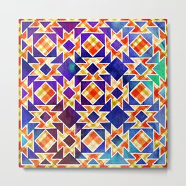 Multicolor Pattern, Including: Cerulein, Electric Violet, Mountain Meadow, Persian Blue + See Below Metal Print