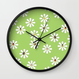 Bugs on Daisies in Green Wall Clock