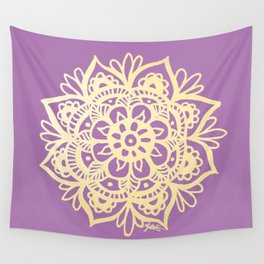 Purple and Gold Mandala Wall Tapestry