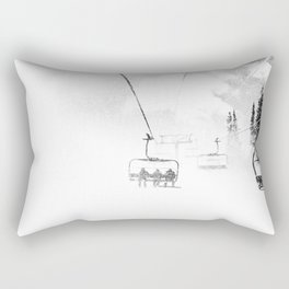 Snow Blasted // Black and White Ride on the Skilift in Blizzard Wind Rectangular Pillow