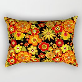 Super groovy flowers Black base orange Rectangular Pillow