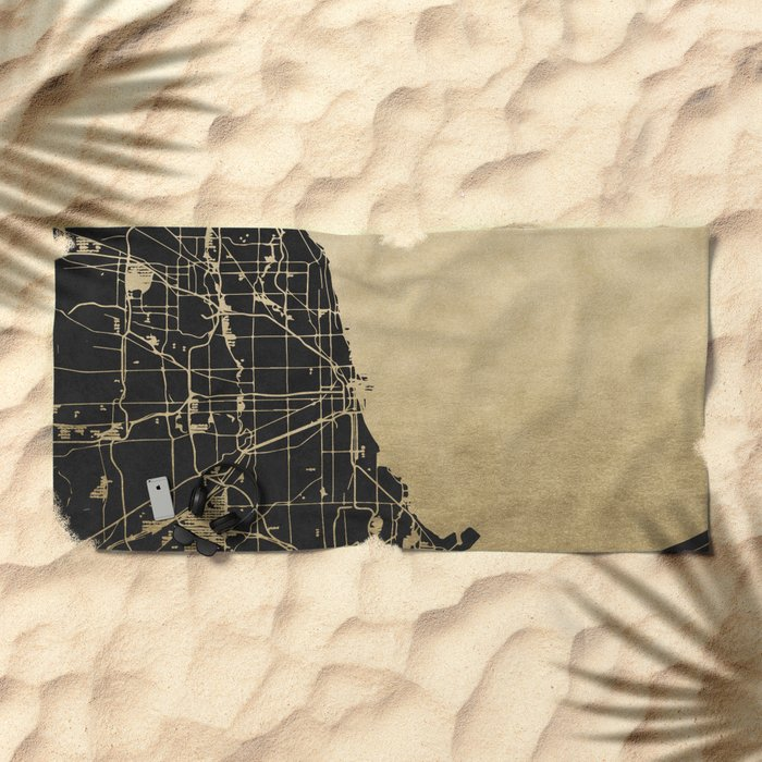 Chicago Black and Gold Street Map Beach Towel