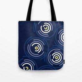 Spin Cycle – Navy / Yellow / Blue Circle Pattern Tote Bag