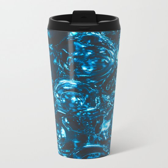 Sparkly blue water marbles Metal Travel Mug