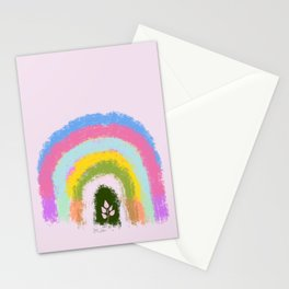 Rainbow life happy plant digital handmade doodle spring colors Stationery Cards