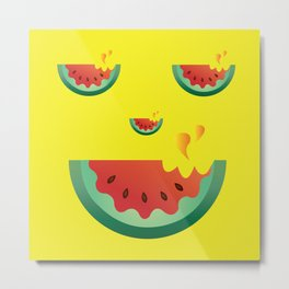 Watermelonween Face Metal Print