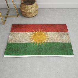 Old and Worn Distressed Vintage Flag of Kurdistan Rug