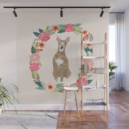 whippet floral wreath dog breed pure breed pet portrait Wall Mural