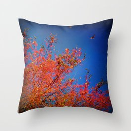 Autumn Vivid:  Fine Art Photograph with Birds over Scarlet Trees Throw Pillow