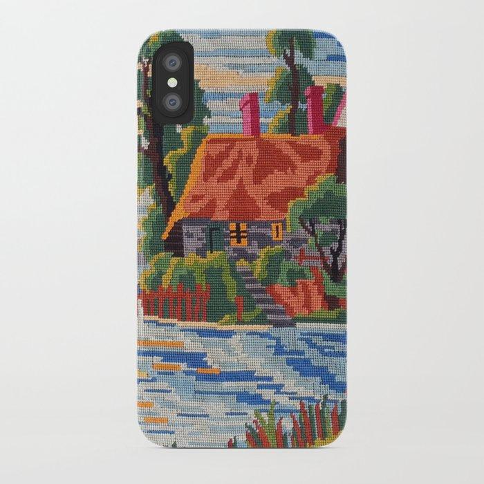 quality design e921a 534fa Cross stitch Pink Roof iPhone Case