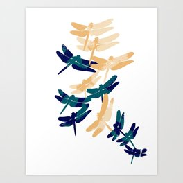 flying dragonflies  Art Print