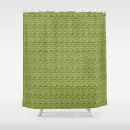 Green Zig-Zag Knit Shower Curtain