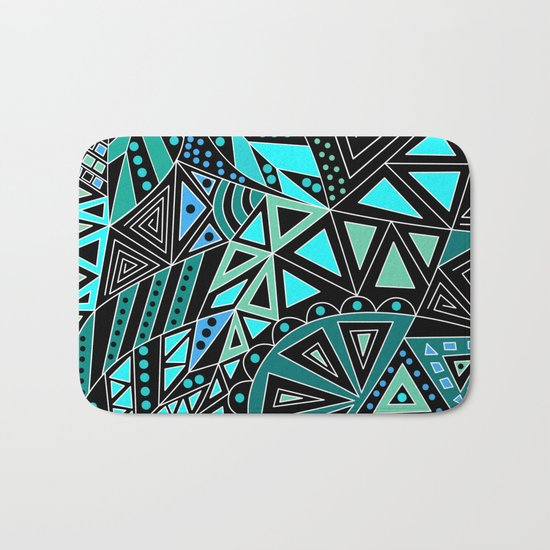 Ethnic pattern in blue turquoise tones on a black background . Bath Mat