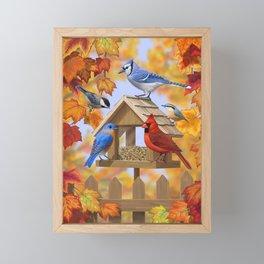 Autumn Bird Feeder Gathering Framed Mini Art Print