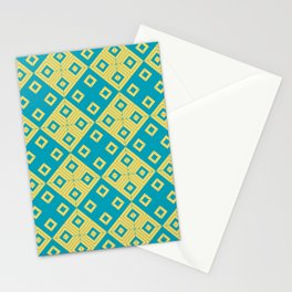 Diagonal squares in teal and yellow colours Stationery Cards