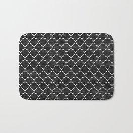 Black and white Moroccan tile pattern Bath Mat