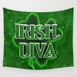 Irish Diva - St Patrick's Day Shamrock Wall Tapestry