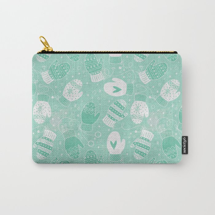 Winter Mittens Mint Carry-All Pouch