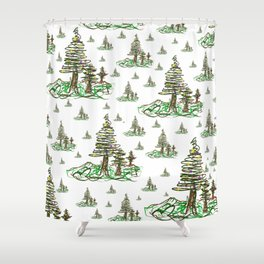 Trees on White Shower Curtain