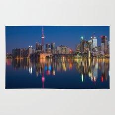 Toronto Canada night cityscape Rug
