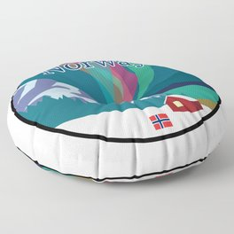 Norway Mountain and Fjordside Badge Featuring Northern Lights Floor Pillow