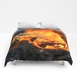 fire in a hollow log Comforters