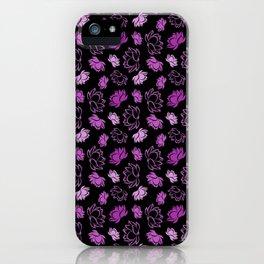 Lotus flower pattern with purple glitter iPhone Case