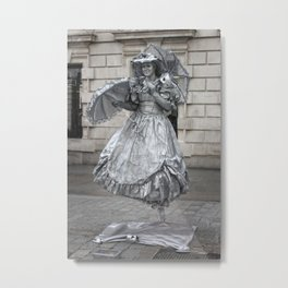 Silver Human Statue - Covent Garden - © Doc Braham; All Rights Reserved. Metal Print
