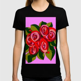 A Bouquet of Big Flowers with Pink Background T-shirt