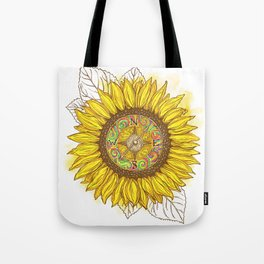 Sunflower Compass Tote Bag