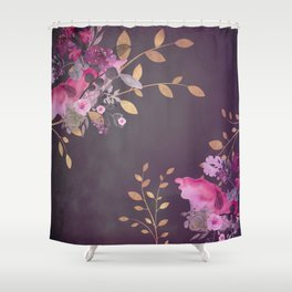 FLOWERS & GOLD  Shower Curtain