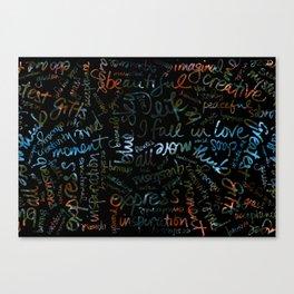 Dahlias + Words Overlay Canvas Print