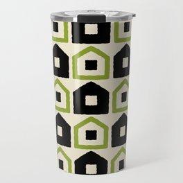 Mid Century Modern House Dot Pattern 971 Black and Green Travel Mug