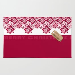 Merry Christmas ! Red lace pattern .Gift . Rug