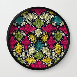 Pink, Green, Yellow, & Turquoise Ornate Abstract Pattern Wall Clock
