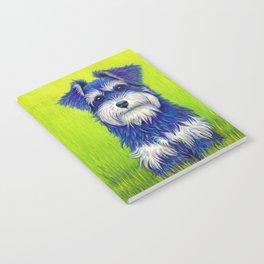 Colorful Miniature Schnauzer Dog Pet Portrait Notebook