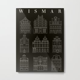 Wismar Fassaden Dark Metal Print
