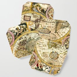 Gorgeous Old World Map Art from 15th Century Coaster