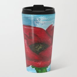 Large Red Poppy Metal Travel Mug