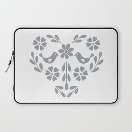 Silver heart shaped floral and birds Laptop Sleeve