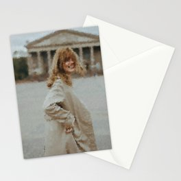 digital oil painting of a faceless woman in a trench coat laughing in the camera Stationery Cards