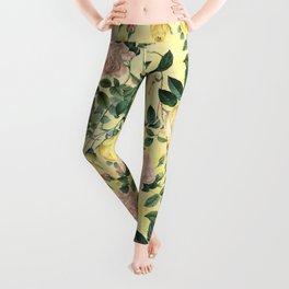 Vintage & Shabby Chic - Yellow Summer Roses Garden Leggings