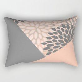 Floral Prints, Coral and Gray, block color art Rectangular Pillow