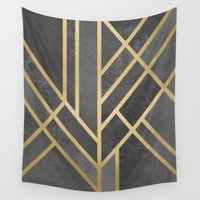 art deco Wall Tapestries featuring Art Deco Geometry 1 by Elisabeth Fredriksson