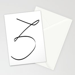 """ Singles Collection "" - One Line Minimal Number Three Print Stationery Cards"