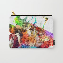 Cow Profile Watercolor Grunge Carry-All Pouch