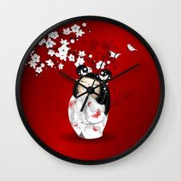 Kokeshi Doll Cherry Blossom Red Black White Wall Clock